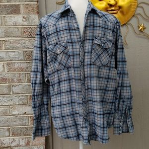 Wrangler Pearl Snap Western Flannel Plaid Unisex